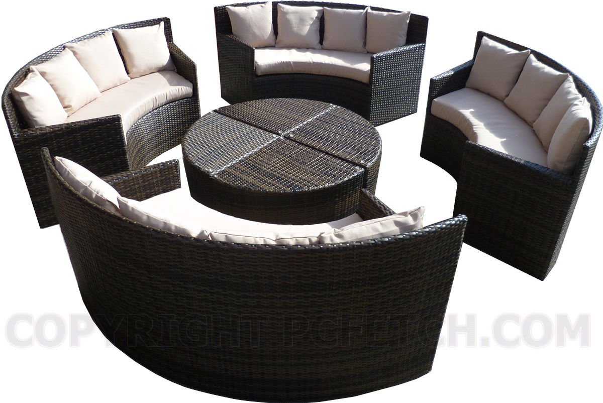 New Round Outdoor Patio Sofa Set Lounge Couch Table
